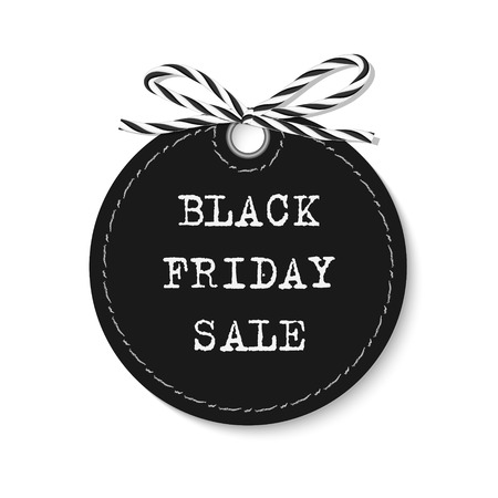 disposition: Black friday sale label with bakers twine rope bow on white background
