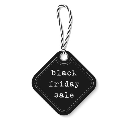 disposition: Black friday sale label with bakers twine rope on white background