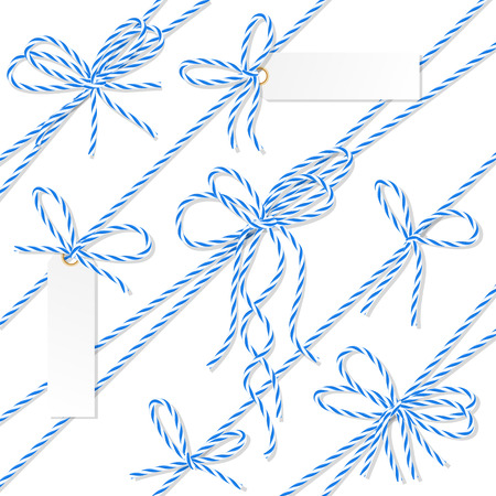 twine: Set of blue rope bakers twine bows, ribbons and tag labels on white background