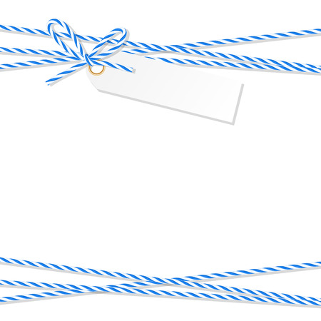 twine: Abstract white background with tag label tied up with blue rope bakers twine bow and ribbons