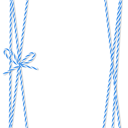 twine: Abstract white background tied up with blue rope bakers twine bow and ribbons