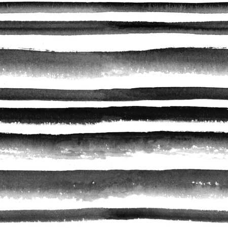 patch of light: Watercolor black and white striped seamless pattern