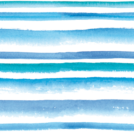 striated: Watercolor blue and turquoise striped seamless pattern