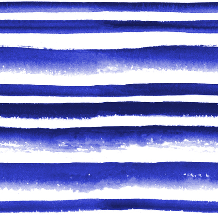 Abstract watercolor ultramarine blue striped seamless pattern