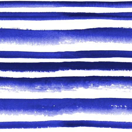 ultramarine blue: Abstract watercolor ultramarine blue striped seamless pattern