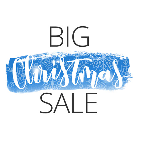 Big Christmas sale hand written inscription with snowflakes on blue watercolour banner background