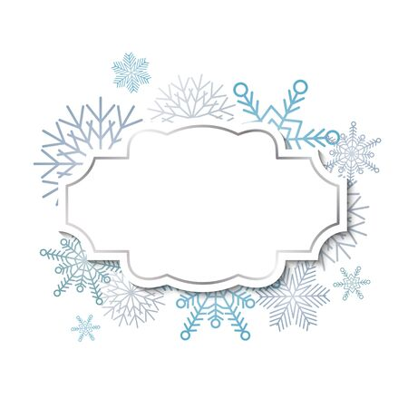 docket: Winter vintage label template with silver frame on blue snowflakes background Illustration
