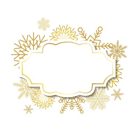 docket: Winter vintage label template with gold frame on gold snowflakes background