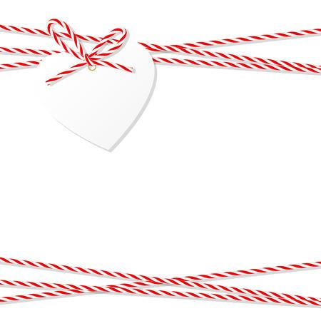 추상 흰색 배경과 심장 태그 레이블 빨간 밧줄 베이커 묶여 꼬기 활과 리본 일러스트
