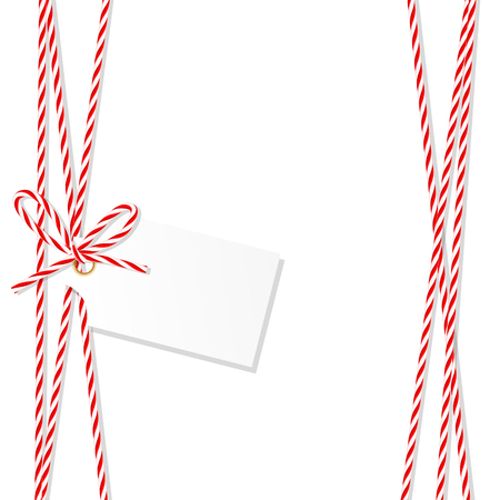 Abstract white background with tag label tied up with red rope bakers twine bow and ribbons Stok Fotoğraf - 67810287