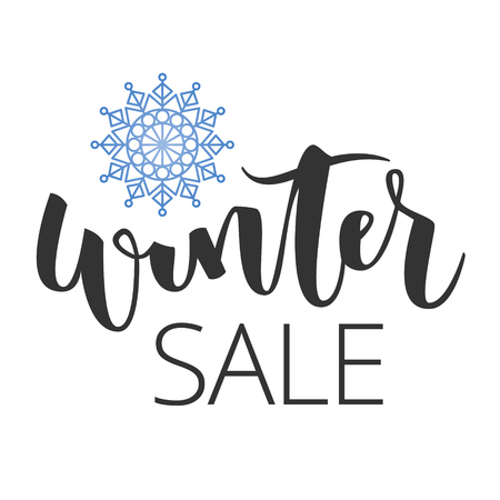 Winter sale hand written inscription with blue snowflake on white background Illustration