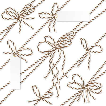 docket: Set of brown rope bakers twine bows, ribbons and tag labels on white background