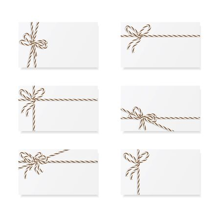 Collection of six card notes with brown bakers twine bows and ribbons Çizim