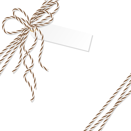 docket: Abstract white background with tag label tied up with brown rope bakers twine bow and ribbons