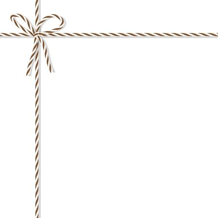 Abstract white background tied up with brown rope bakers twine bow and ribbons Illustration