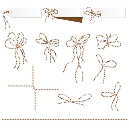 Set of tags and labels tied up with brown bakers twine bows and ribbons Çizim