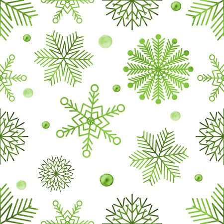 vealy: Watercolour green snowflakes on white background seamless pattern