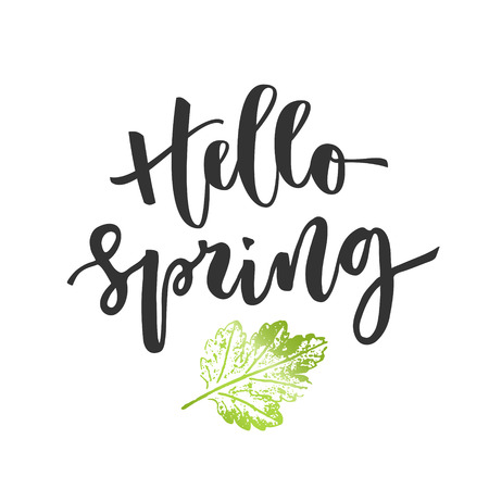 Hello spring hand written inscription
