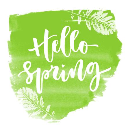 Hello spring hand written inscription