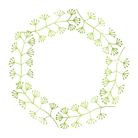 Hand drawn spring floral wreath with space to your text on white background