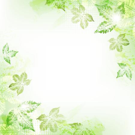 Spring leaves background Çizim