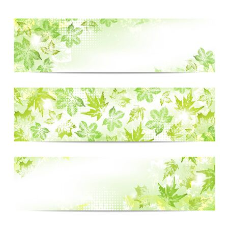 Spring leaves banners