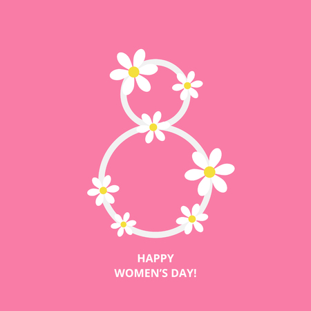 Womens day greeting card with floral 8 Çizim