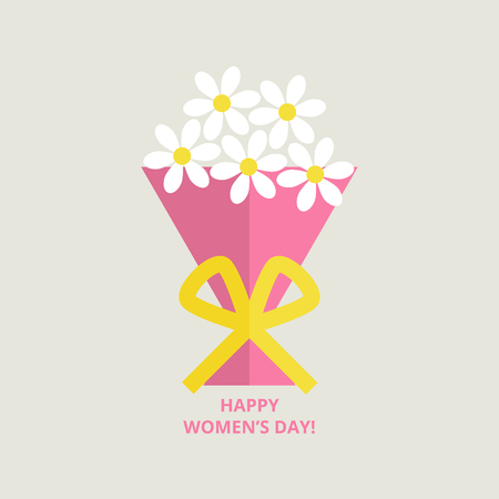 Womens day greeting card with bouquet of flowers