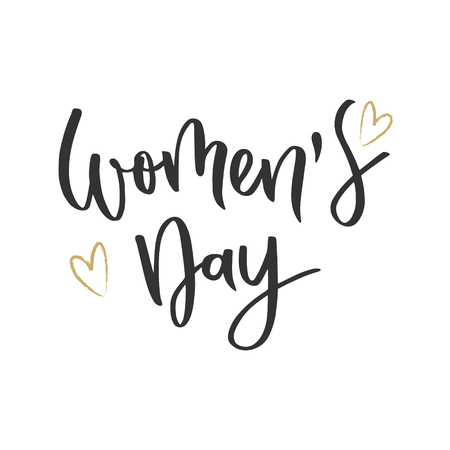 Womens day hand written inscription with hearts on white background