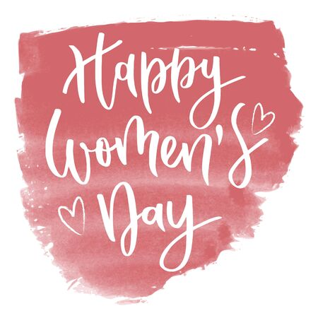 Happy womens day hand written inscription with hearts on pink watercolor background Çizim