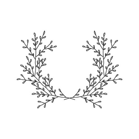 Hand drawn floral wreath on white background Standard-Bild - 132075330