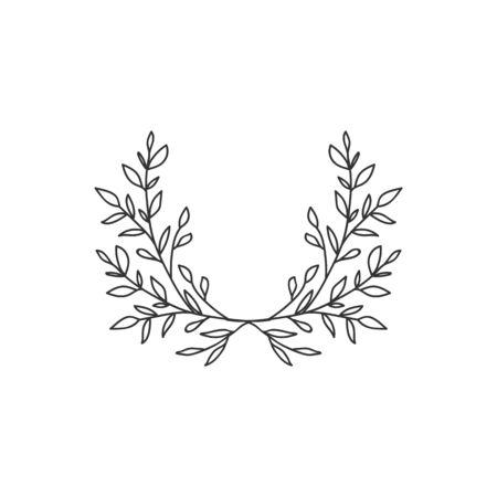 Hand drawn floral wreath on white background Stok Fotoğraf - 132074916