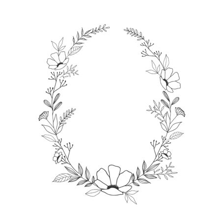 Hand drawn floral oval frame wreath on white background 矢量图像