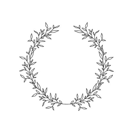 Hand drawn floral oval frame wreath on white background Stok Fotoğraf - 132075356