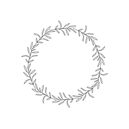 Hand drawn floral oval frame wreath on white background Stok Fotoğraf - 132075645