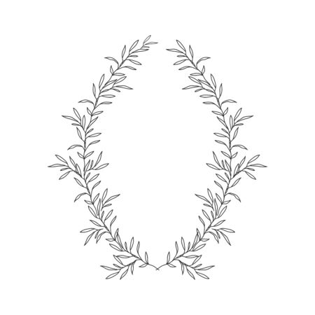 Hand drawn floral oval frame wreath on white background Çizim