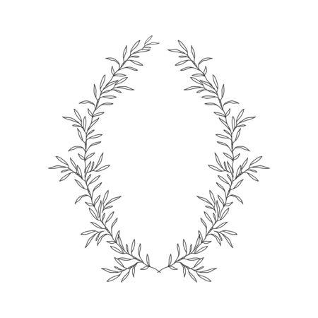 Hand drawn floral oval frame wreath on white background Ilustração