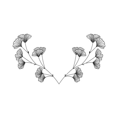 Hand drawn ginkgo biloba wreath on white background