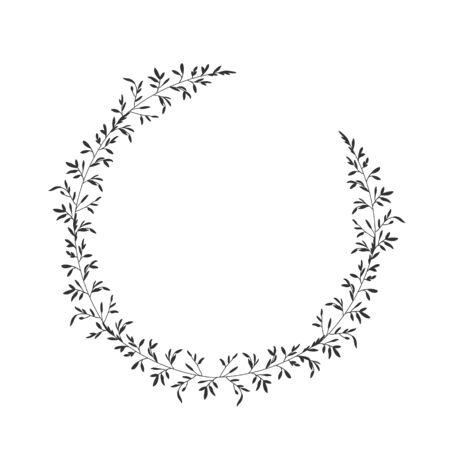 Autumn botanical oval frame wreath on white background