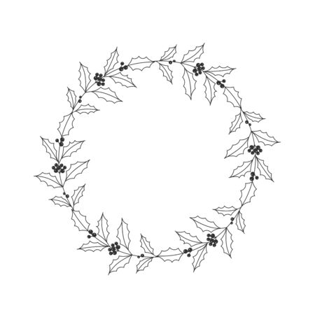Christmas floral hand drawn wreath on white background Ilustração