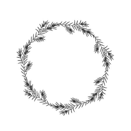 Christmas floral hand drawn wreath on white background Çizim