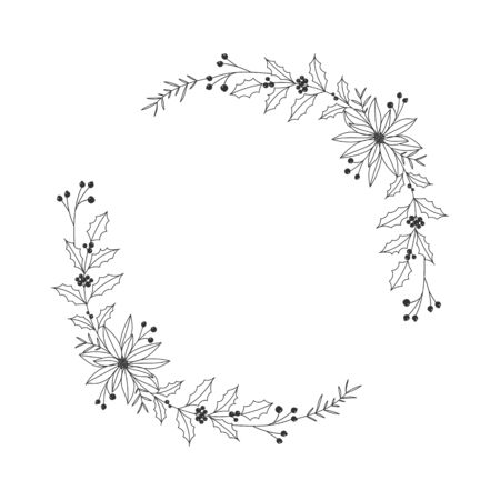 Christmas floral hand drawn wreath on white background Stok Fotoğraf - 132873535