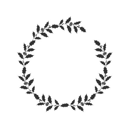 Christmas floral hand drawn wreath on white background Illustration