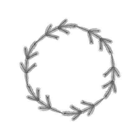 Christmas floral hand drawn wreath on white background Stok Fotoğraf - 133042481