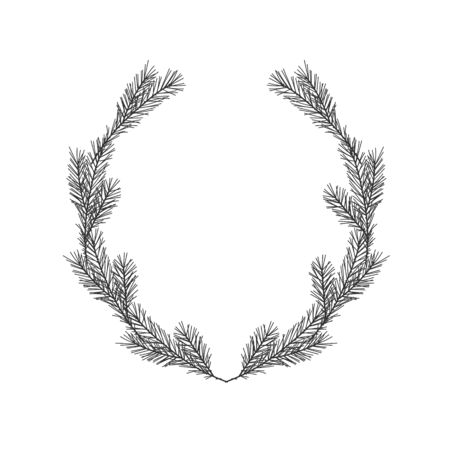 Christmas winter floral hand drawn oval laurel wreath on white background Çizim
