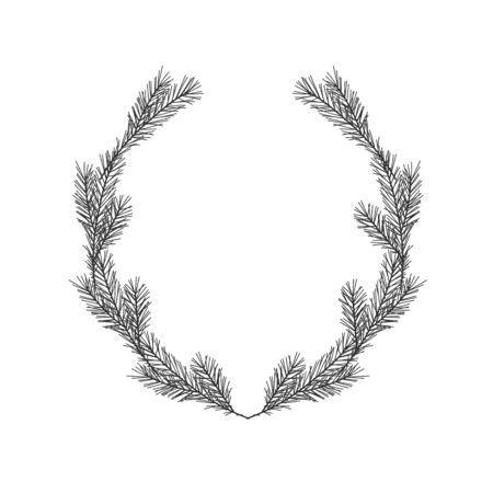 Christmas winter floral hand drawn oval laurel wreath on white background Ilustração