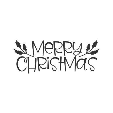 Merry Christmas black hand written lettering phrase