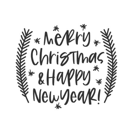 Merry Christmas and happy new year black hand written lettering phrase