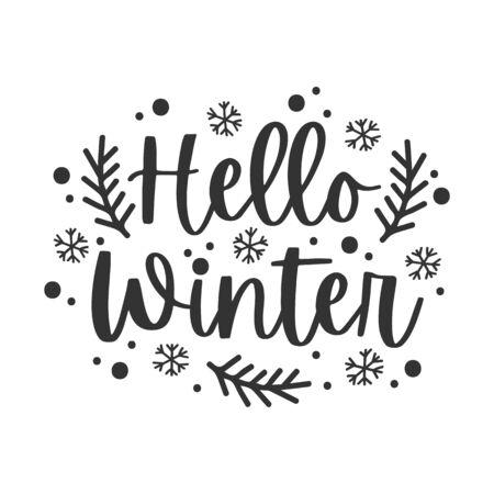 Hello winter black hand written lettering phrase Ilustração