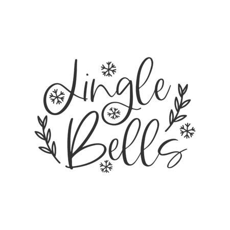 Jingle bells black hand written lettering phrase